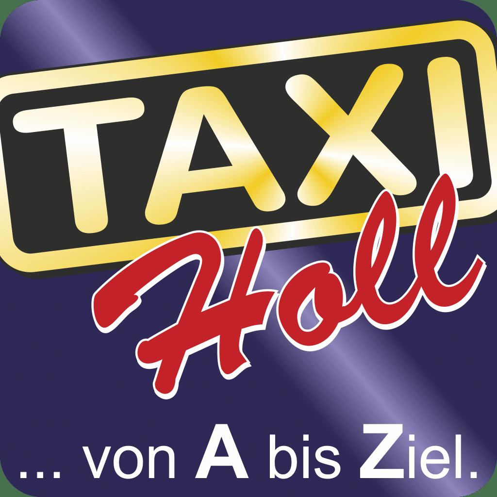 """Mit der Taxi Karlsruhe App """"Taxi-Holl"""" verfügbar in den App Stores von Google und Apple."""