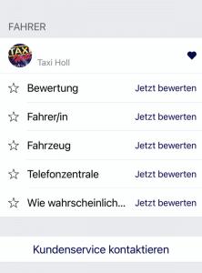 Taxifahrt in Karlsruhe bewerten und Feedback geben.
